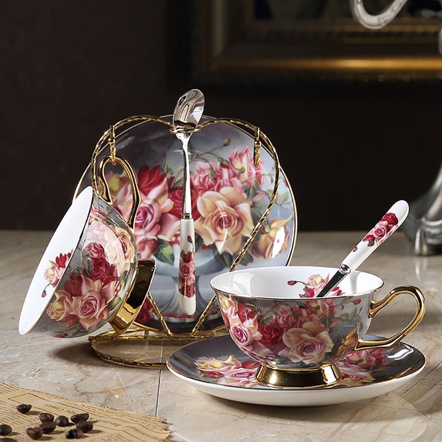 Haute tasse à eau de thé vaisselle européenne en céramique tasse à café ensemble tasses à expresso réutilisables os chine tasse Tazzine Caffe maison 50P63
