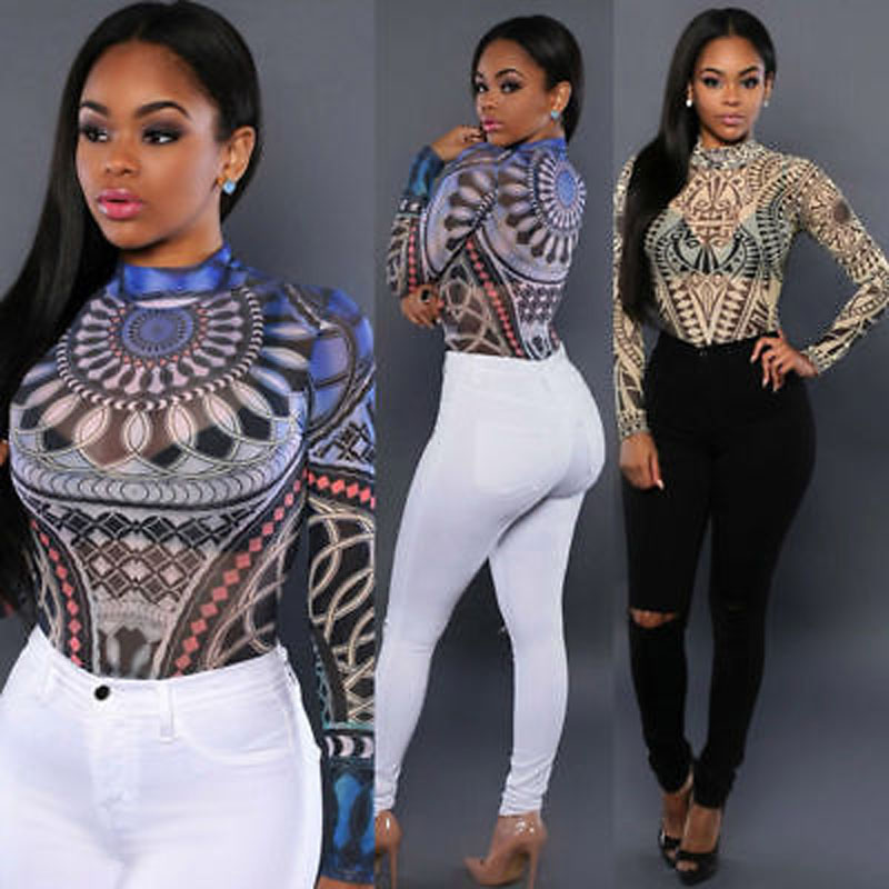 Women Clothes New Women Long Sleeve Sexy Bodysuit Sheer See Through Geo Pattern Jumpsuit