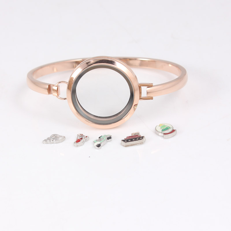 Rosegold Stainless Steel Floating Locket Bangles Round Screw Plain Floating Living Locket Bracelets Bangles 6pcs