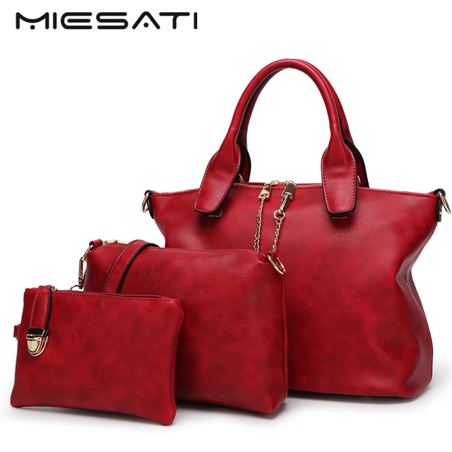 7e4fc13c85b93 MIESATI 3 Einkaufstasche Set Mode Handtaschen 2017 Berühmte Marke  Handtaschen Damen Handtaschen Frauen Handtasche Umhängetasche