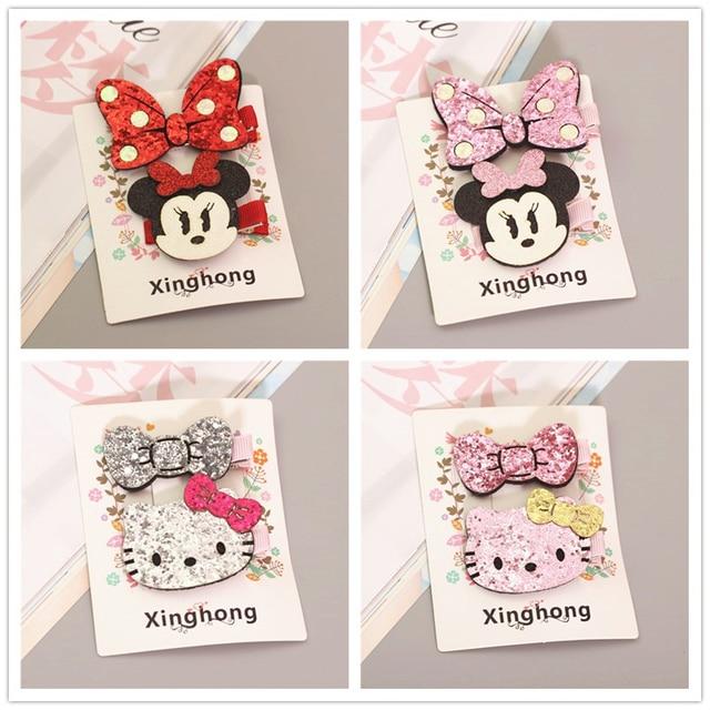 d0e348e46 lovely Hello Kitty Minnie Mouse Ears Hairpin Children Hair Clips Bow  Accessories For Baby Girls Kids Barrette headdress Headwear