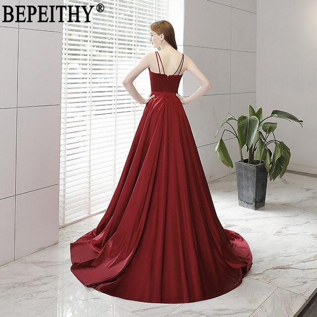 BEPEITHY Vestido De Festa New Design Sexy Slit Formal Dress Burgundy V Neck Long Evening Dresses Reflective Dress 2019 1