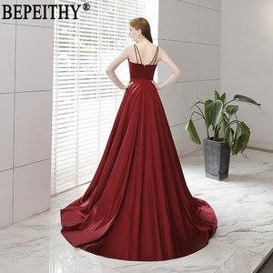 Image 2 - BEPEITHY Vestido De Festa nowy projekt seksowna szczelina formalna sukienka bordowy V Neck długie suknie wieczorowe odblaskowa sukienka 2019