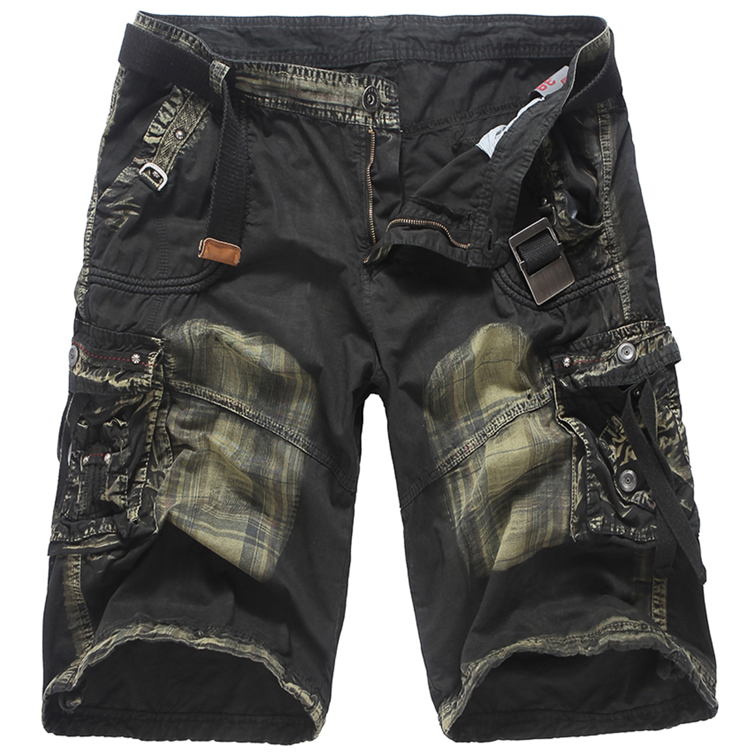 Summer loose mens cotton camouflage cargo shorts more pockets 3 color straight casual beach shorts safari style short trousers