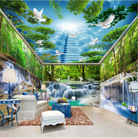 beibehang Waterfalls Water Forest Crane White Pigeon 3D photo wallpaper Large wall painting background 3D wall paper living room