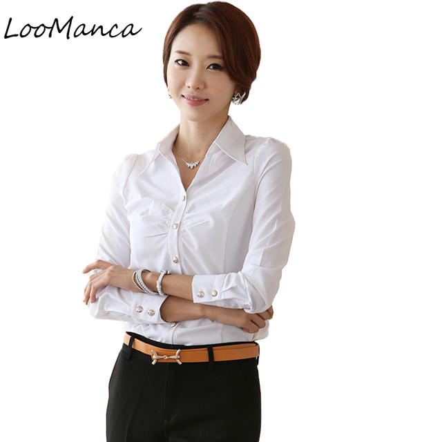 5fca7a015ee 2019 New Plus Size OL White Shirt Women Cardigan Office Ladies' Long Sleeve  Tops Slim Blouses & Shirts Women Clothes Work Wear