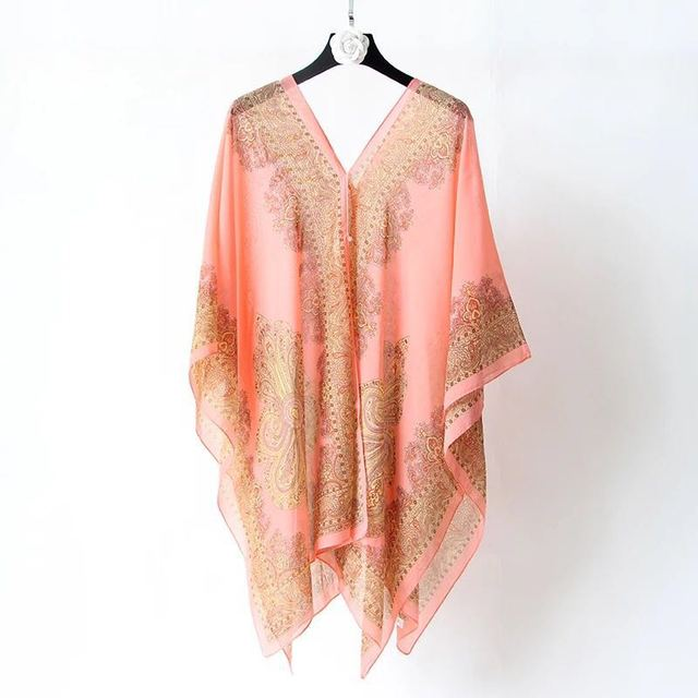 Boho Batwing Sleeve Chiffon Blouse Women Casual Floral Print Loose Kimono Shirts Big Size Beach Tunic Tops Peplum Blusa Robe 3