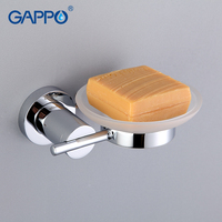 GAPPO 1SET High Quality Wall Mout Bathroom Soap Dish Holder Glass Restroom Soap Basket Soap Box
