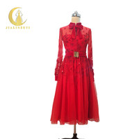 JIALINZEYI New Arrival Long SLeeves High Neck Beads Tea length Party Dresses Formal Dress Real Picture Evening Dresses