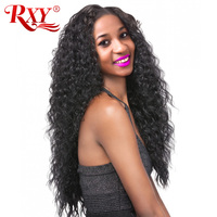 RXY Deep Wave Brazilian Full Lace Wig With Baby Hair Natural Color Pre Plucked Human Hair