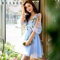 Orijinal 2017 yaz elbise gökyüzü mavi işık bej çiçekler v yaka yüksek bel fener kol örgü elbise balo toptan
