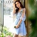 dabuwawa 2016 summer dress sky blue light beige flowers v collar high waist lantern sleeve mesh dresses ball gown pink doll
