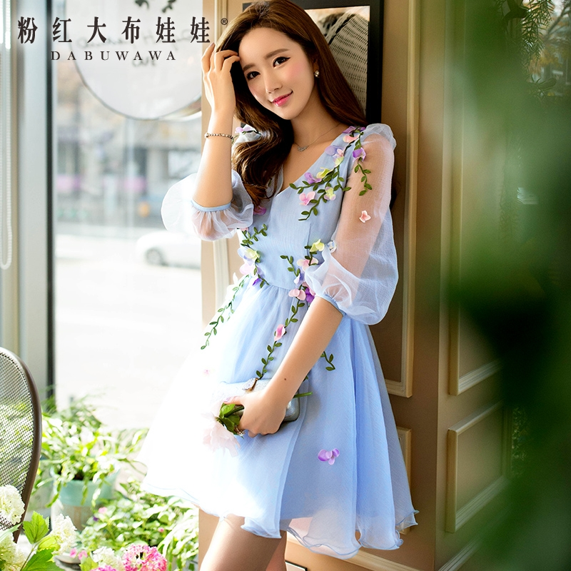 Buy Cheap dabuwawa 2017 summer dress sky blue light beige flowers v collar high waist lantern sleeve mesh dresses ball gown pink doll