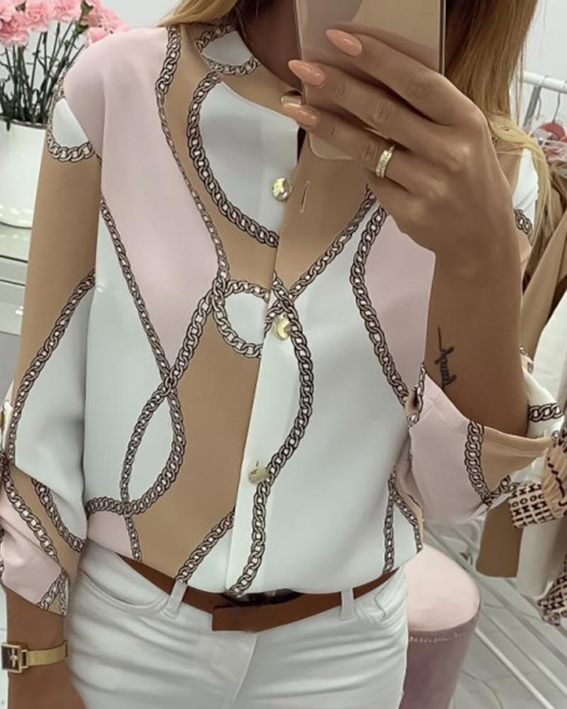 Referral Chains Print Button Design Casual Shirt 2019 Women New Spring Summer Long Sleeve Casual Blouses Ladies multicolour top in T Shirts from Women 39 s Clothing