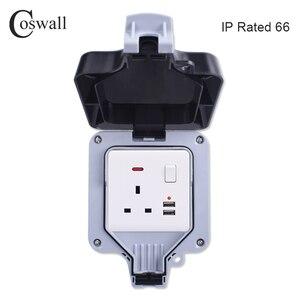 Image 3 - Coswall IP66 עמיד עמיד למים חיצוני תיבת קיר שקע חשמל 1 כנופיית אוניברסלי/תקן בריטי להעביר לשקע עם ניאון