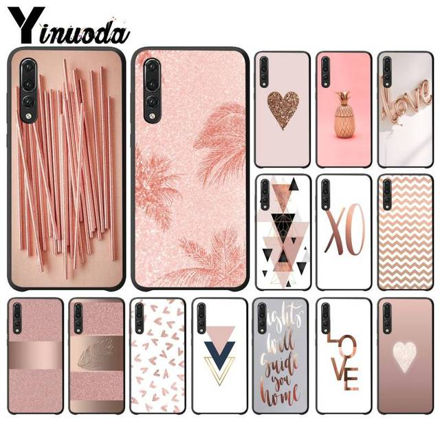 Yinuoda Love Heart Pineapple Gold Rose Stripes Durable Phone Shell for Huawei Honor View10 Mate10 lite P20 Lite