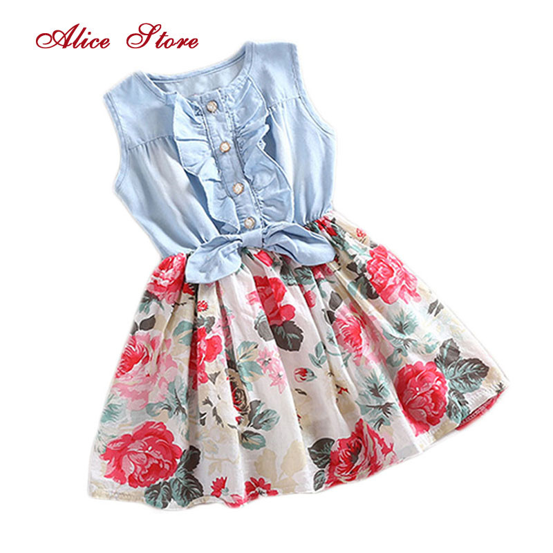 Girls Dresses Lovely Hot Kid Girls Jean Denim Bow Flower Ruffled Dress Sundress Clothing Costume 1