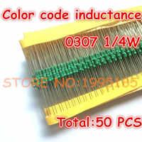 50 unids/lote 0307 1/4W 560UH inductancia con código de color 0307-561K inductancia anillo de color