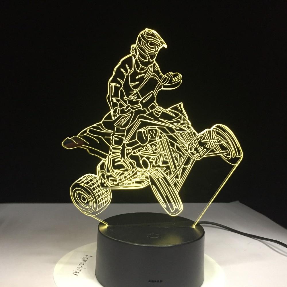 Four Wheels Mountain Car Motor Racing Sport 3D Lampen 7 Color USB Night Lamp LED Lights For Kids Birthday Motocross Ride Gift