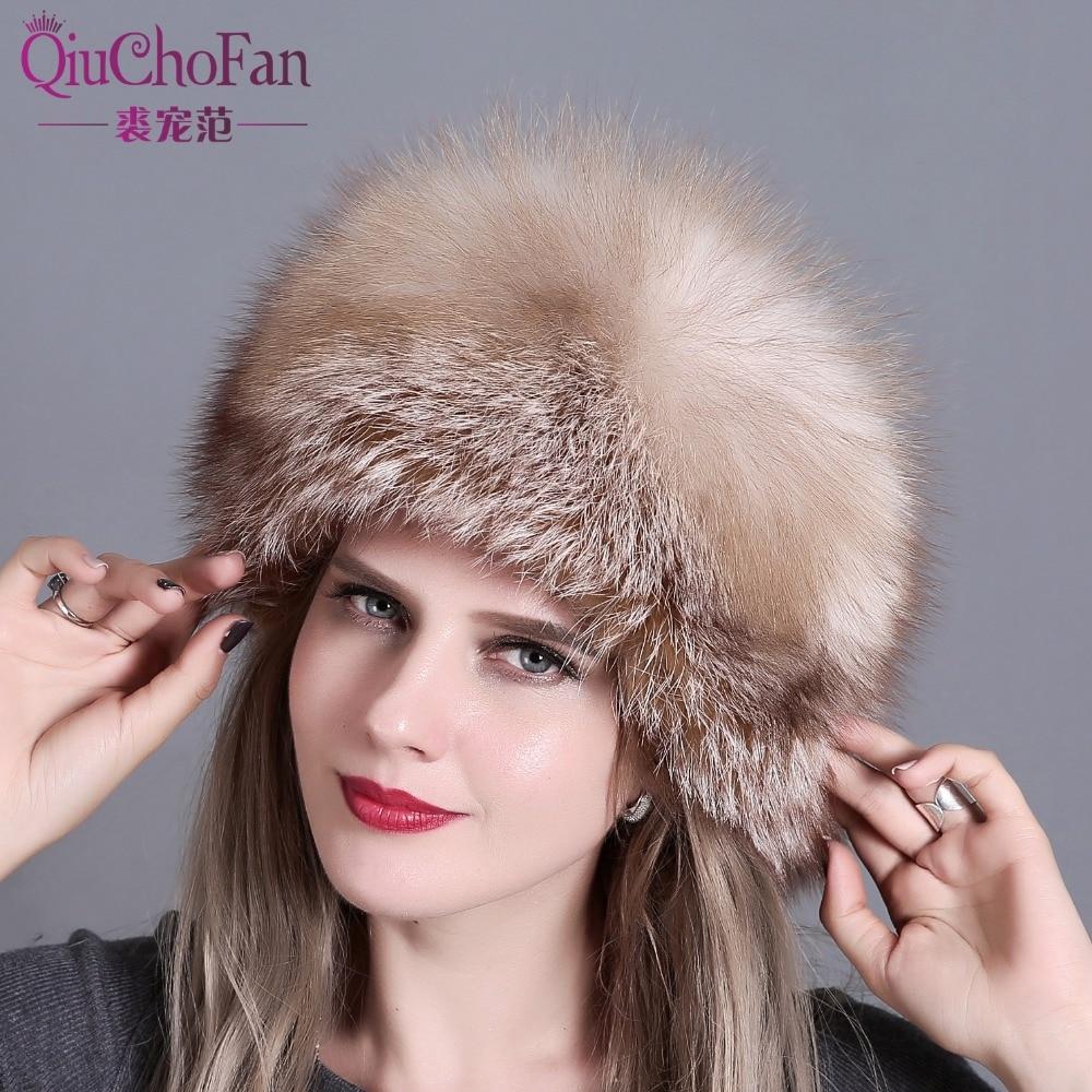 Chapeaux d'hiver pour femmes véritable fourrure de renard et fourrure de lapin chapeau avec 2 Pompons entier queue de renard russe hiver extérieur chaud mongol casquettes - 5