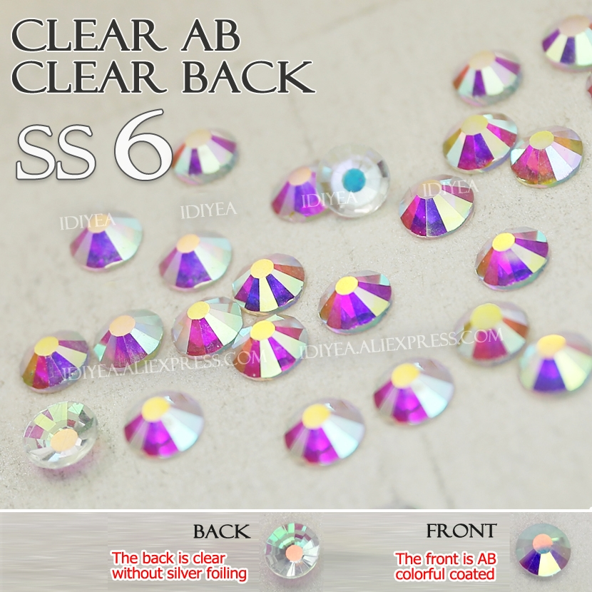 SS6 1440Pcs Clear AB Clear back Non Hot Fix naked Rhinestones crystals strass glitters strass for nails art Decoration manicure