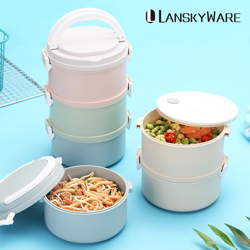 LANSKYWARE Microwave Plastic Lunch Box for Kids or Adults Japanese Style Protable Bento Leak-Proof Childrens