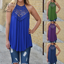 2019 Elegant Hollow Out Women Tops Ladies Waist Summer Lace Stitching Sleeveless Round Neck Strap Casual Top Cotton
