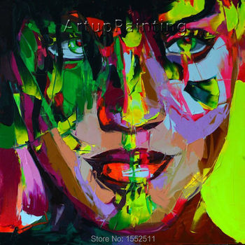 Palette knife painting portrait Palette knife Face Oil painting Impasto figure on canvas Hand painted Francoise Nielly 0610-7
