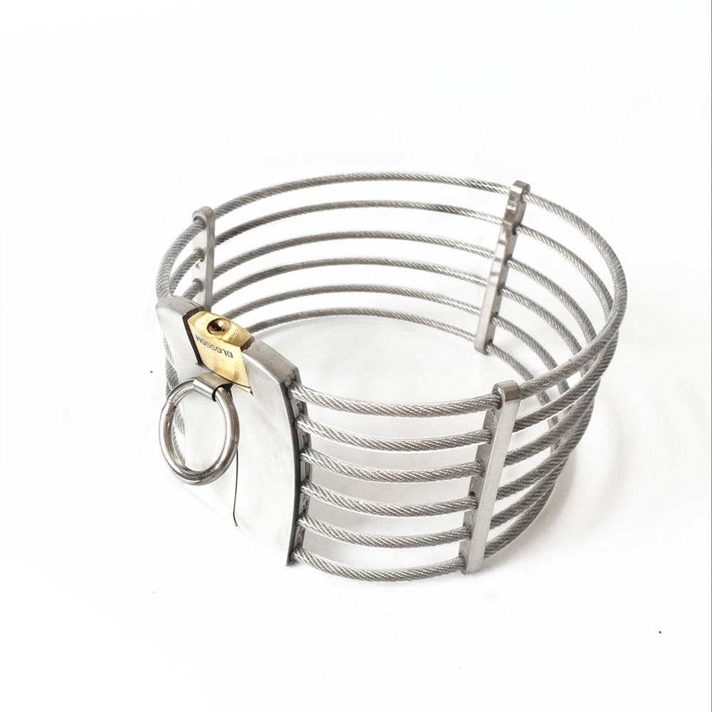 HOT fashion stainless steel metal bondage restraints neck collar slave bdsm collars feish sex toys for