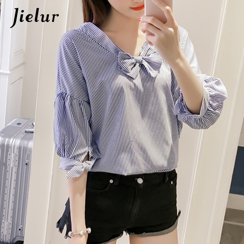 Jielur Special Reversible Summer Shirts Sweet Elegant V-neck Buttons Striped Womens Top Bow Lace-up Sleeve Blouse Feminino S-XL
