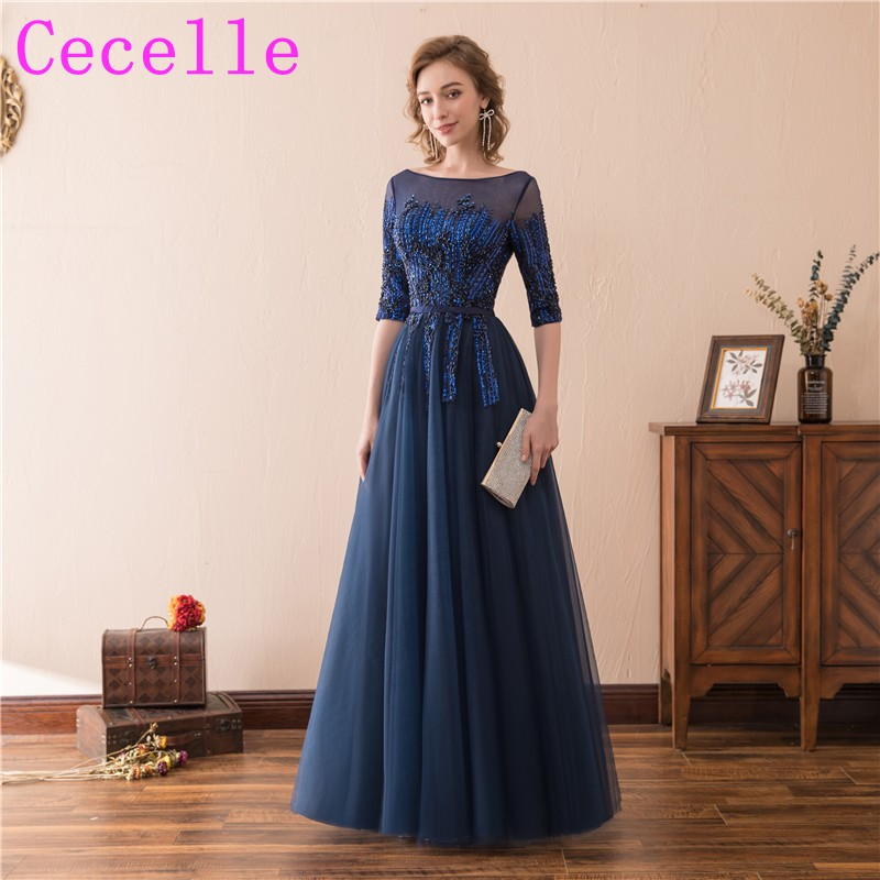 Navy Blue Long Formal Evening Dresses With Half Dleeves 2018 Women