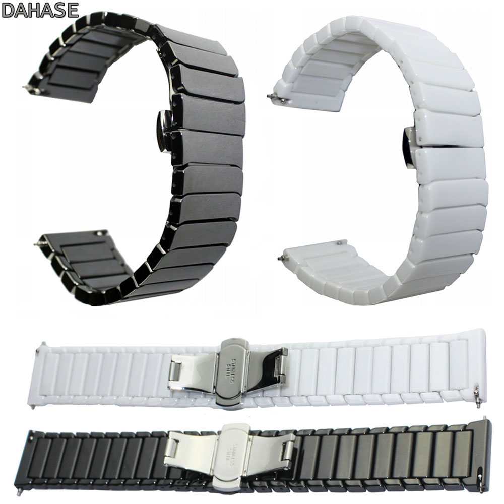 DAHASE 22mm Black White Ceramic Wrist Strap Band for Xiaomi Huami AMAZFIT Sports Smart Watch Band Bracelet Wristband jansin 22mm watchband for garmin fenix 5 easy fit silicone replacement band sports silicone wristband for forerunner 935 gps
