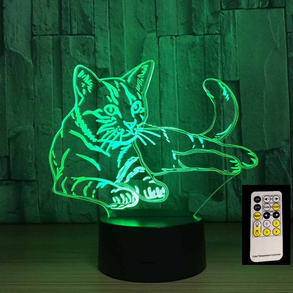 Remote Control Lying Cat 7 Colors 3D LED Night Lights USB 3AA Power Table Lamp Home Decor Bedroom Sleeping Lava Lamp led chelsea football club 3d lamp usb 7 color cool glowing base home decoration table lamp children bedroom night lights
