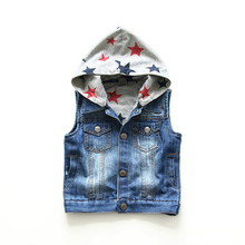 Baby Vest Girls Boys Sleeveless Hoodie Children's Denim Vest Spring Autumn Kids Waistcoats Cotton Preppy Style Gilet