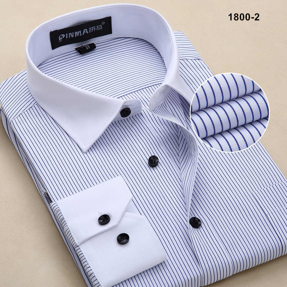 Новое поступление, брендовые высококачественные мужские полосатые рубашки с длинным рукавом, мужские деловые официальные рубашки, рубашки для мужчин