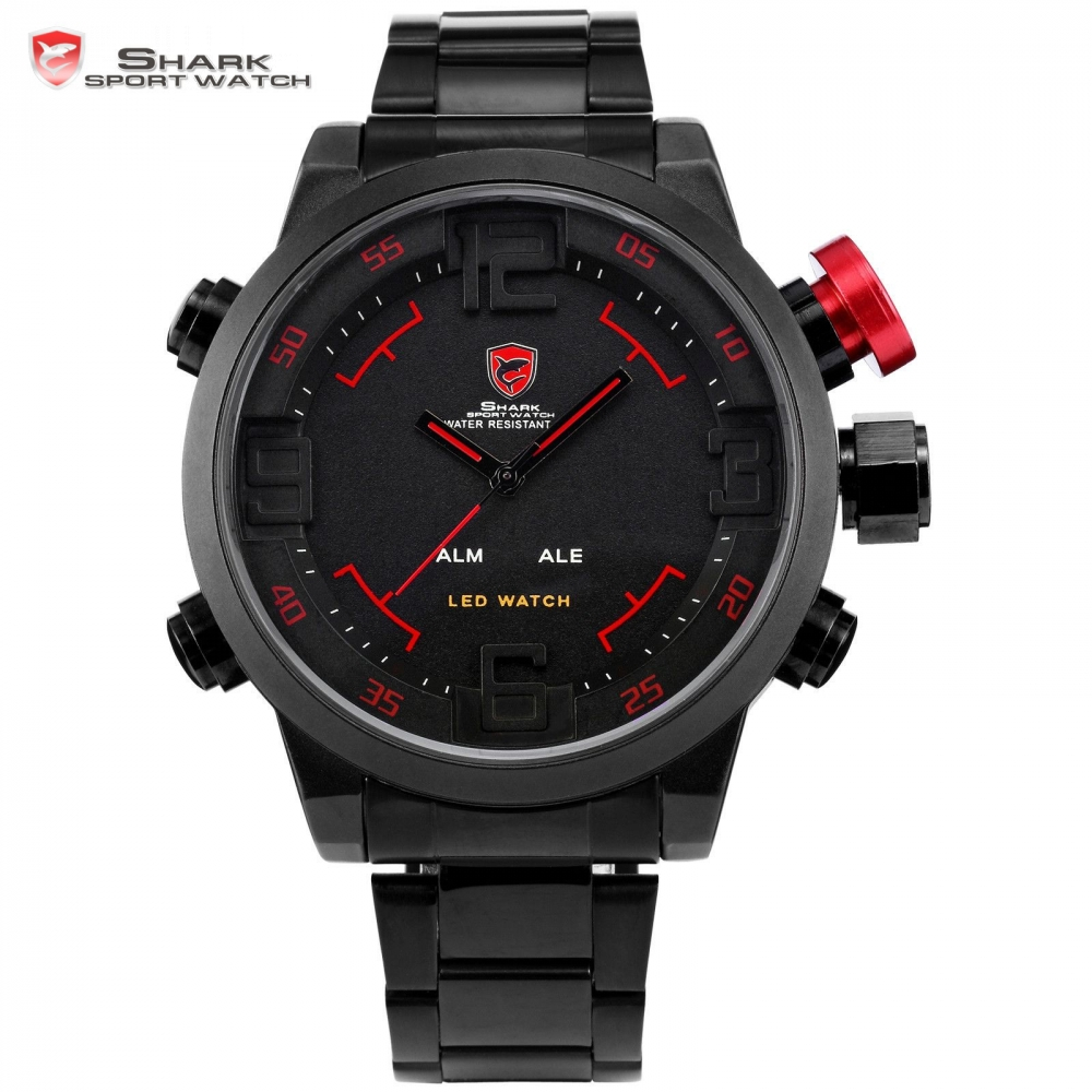 ฉลามกีฬานาฬิกายี่ห้อดิจิตอลเวลาคู่วันLEDสีดำสีแดงนาฬิกาข้อมือผู้ชายเหล็ก