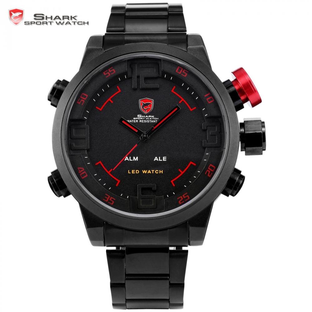 Prix pour SHARK Sport Montre Marque Numérique Double Temps Jour LED Noir Rouge hommes Bracelets Complet Bracelet En Acier Tag Relogio Militaire Horloge/SH105