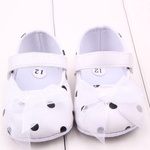 Pink Ribbon Princess Lace Baby Polka Dot Shoes Newborn Girl First Walkers Anti-skid Shoes New