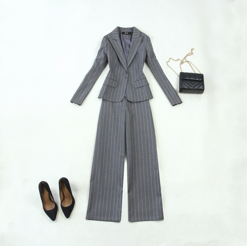 2018 New Autumn Winter Female Business Suits Elegant Long Blazer And Wide Leg Pants Two Piece Set Office Layd Pants Suit Outfit