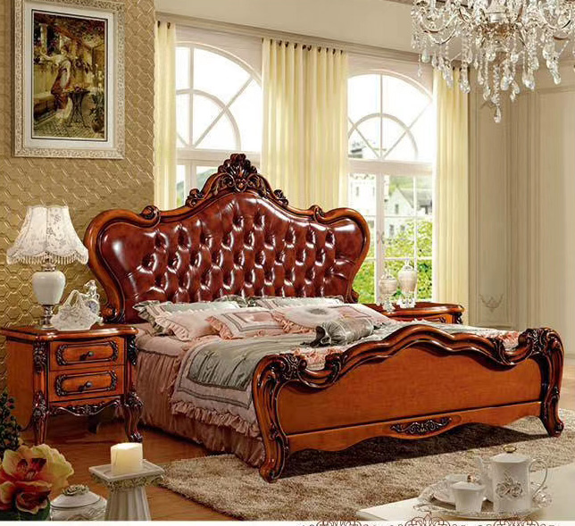 Modern European Solid Wood Bed Fashion Carved  1.8 M Bed  French Bedroom Furniture DCX802
