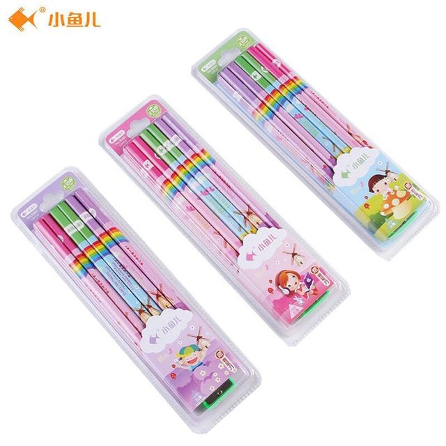 xiaoyuer 3080 triangle with cartoon head 12 pens pencil high quality