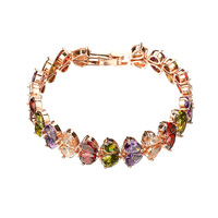 Fashion Multi color High Quality AAA Water Drop Bracelet Zircon Mosaic Inlay Summer Jewelry