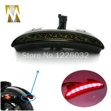 Motorcycle Rear Fender Edge LED Motorbike Tail Light Brake Light Smoked Lens For XL883L XL883N Iron