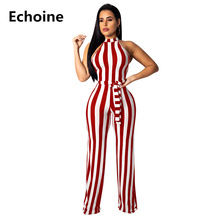 Women Knit Striped Jumpsuit with Belt Wide Leg Jumpsuit Knit Hanging Romper Sexy Srtapless Club Jumpsuit Elegant Women Overall