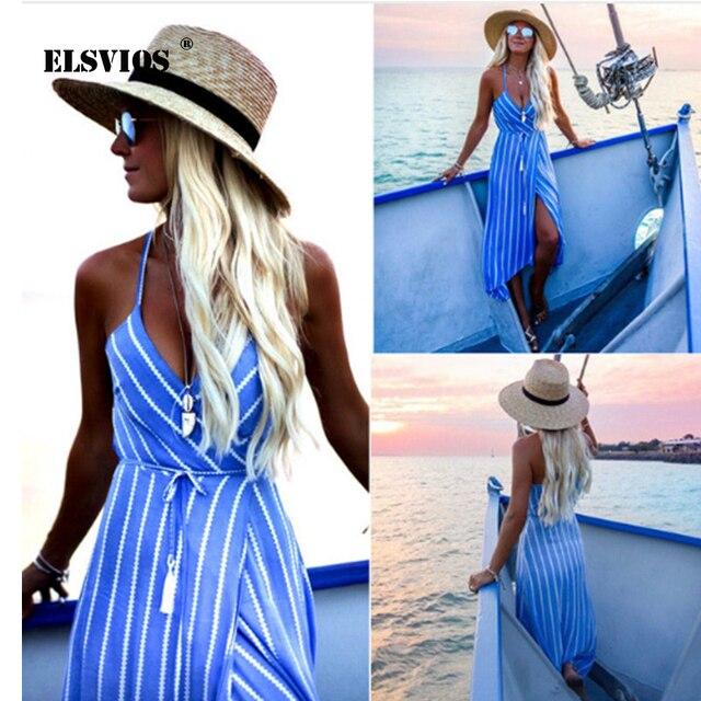 ELSVIOS 2018 New Sexy Striped Halter beach dress women Deep V neck Summer Boho Maxi Long dresses Ladies Irregular Bohemian dress