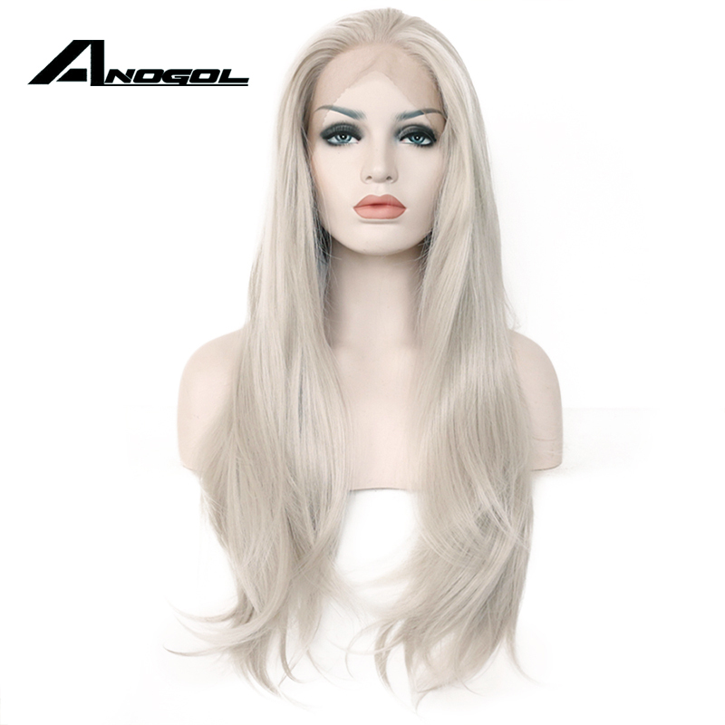 Anogol High Temperature Fiber Silver Grey Long Natural Wave 360 Frontal White Wigs Synthetic Lace Front