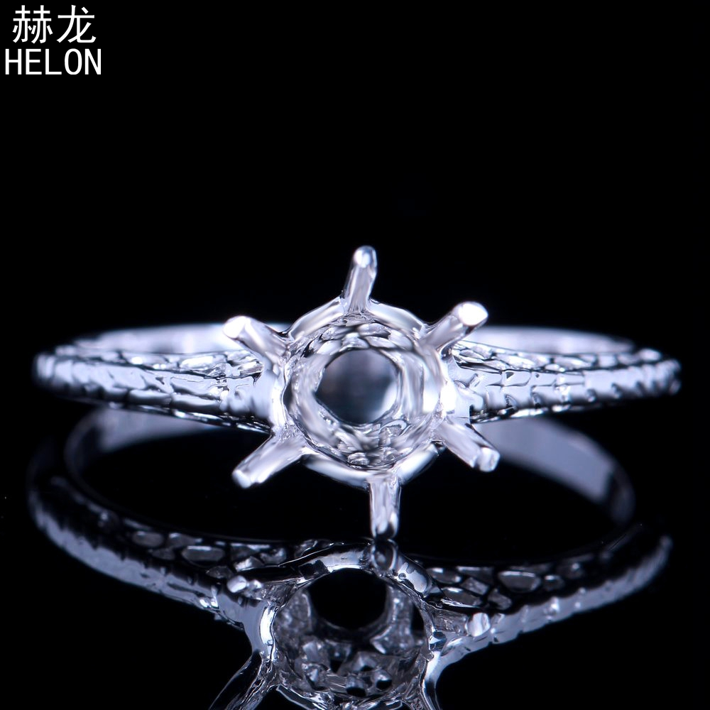925 Sterling Silver Solitaire 5.25-6.25mm Round Cut Semi Mount Vintage Antique Fine Jewelry Engagement Wedding Women Trendy Ring