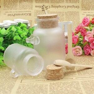 Image 5 - 200g/100g Plastic Cosmetic Empty Matte Cork Jar Bath Salt Bottle Women Mask Facial Container Refillable Bottle With Wood Spoon