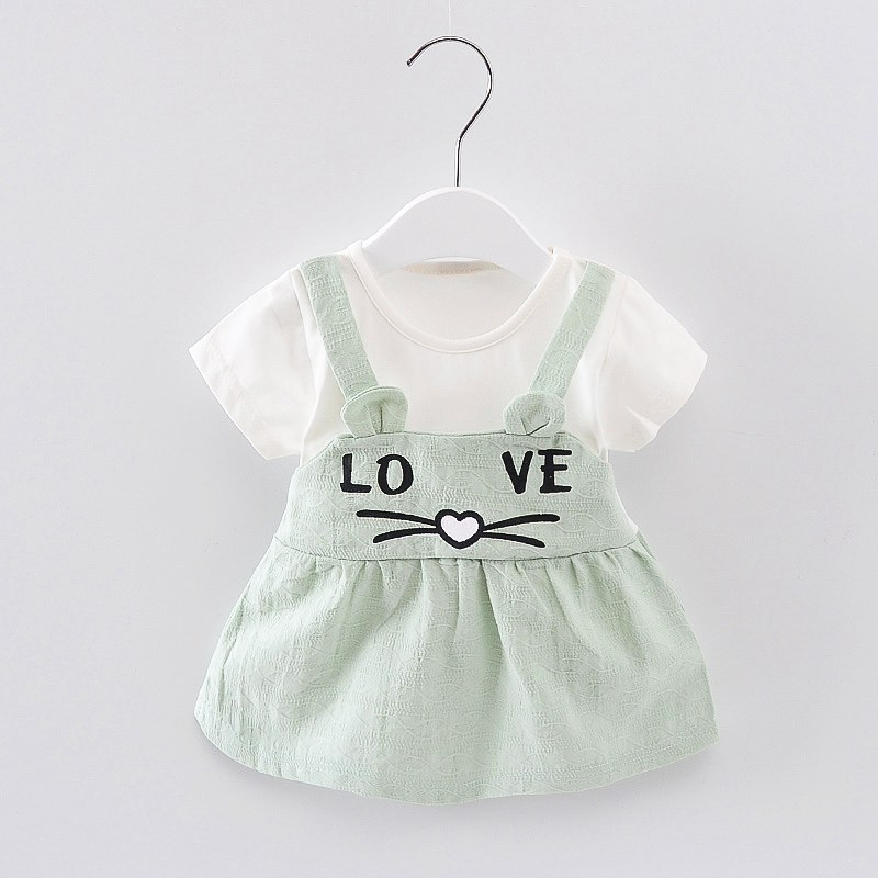 1-6Y Baby Girls Dress Love Summer Dresses Cute A- Line Skirt Girl Princess Dress White B ...