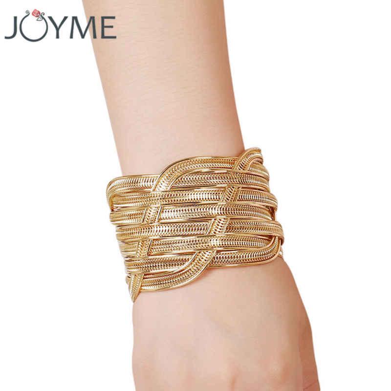 Geometric Style Pop Punk Metal Women Cuff Bracelets Bangles Gold-Color  Armband Wristband Wide Steampunk e4a134b349e4
